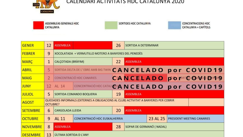 Calendari d'activitats HDC Catalunya 2020
