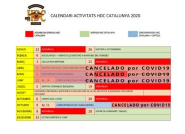 Calendario de actividades HDC Cataluña 2020