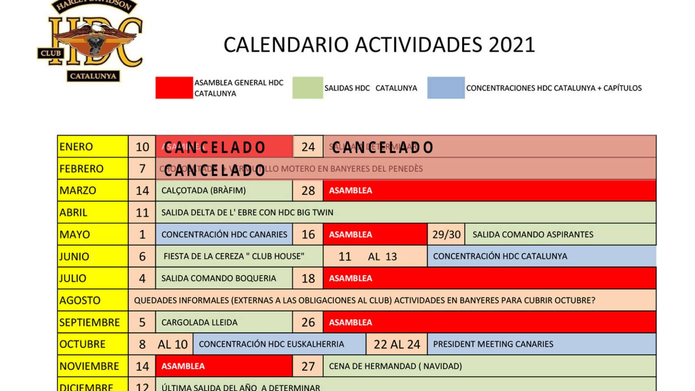Calendario de actividades HDC Cataluña 2021