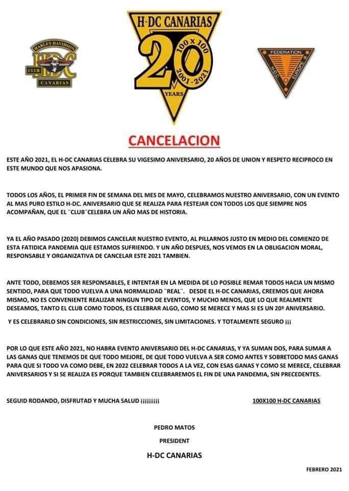 Cancelación 20 aniversario HDC CANARIAS